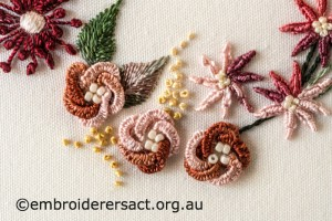 Detail 4 of Shades of Autumn Brazilian Embroidery stitched by Sharon Burrell