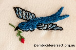 Detail of Bluebird from 2014 Creative Challenge Postcard by Agnes Sieberras