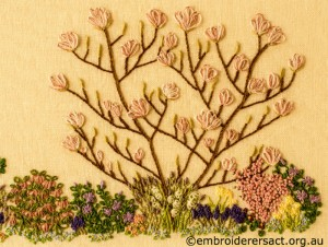 Deail 3 of Floral Garden stitched by Sue Scorgie