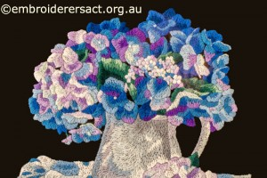 Detail 1 of Hydrangea Melody stitched by Gail Haldon