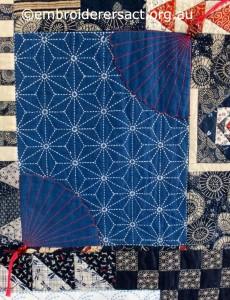 Detail 1 of Sashiko Sampler Quilt by Jennifer Zanetti