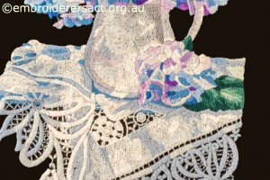 Detail 2 of Hydrangea Melody stitched by Gail Haldon