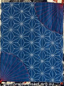 Detail 2 of Sashiko Sampler Quilt by Jennifer Zanetti