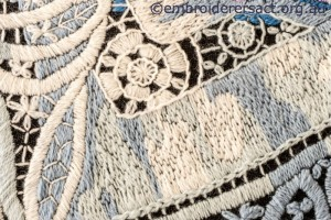 Detail 3 of Hydrangea Melody stitched by Gail Haldon
