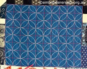 Detail 3 of Sashiko Sampler Quilt by Jennifer Zanetti