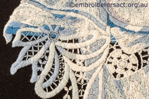 Detail 4 of Hydrangea Melody stitched by Gail Haldon