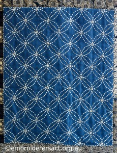 Detail 4 of Sashiko Sampler Quilt by Jennifer Zanetti