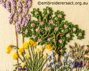 Detail 5 of Floral Garden stitched by Sue Scorgie