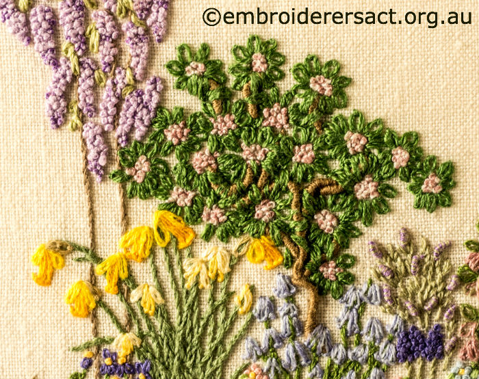 detail 5 of floral garden stitched by sue scorgie - Embroidery Garden
