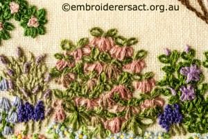 Detail 6 of Floral Garden stitched by Sue Scorgie