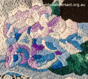 Detail 6 of Hydrangea Melody stitched by Gail Haldon