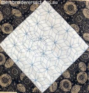 Detail 9 of Sashiko Sampler Quilt by Jennifer Zanetti