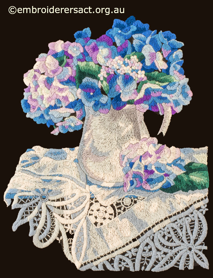 Wool embroidery of Hydrangeas
