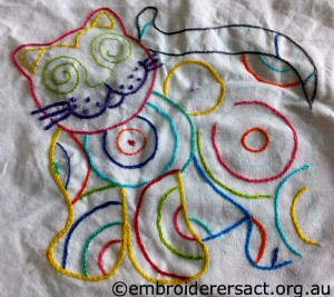 Cat Stitchery in progress by Claire H