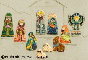 Detail 1 of Retro Nativity Scene stitched by Jillian Bath