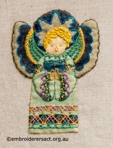 Detail 3 of Retro Nativity Scene stitched by Jillian Bath