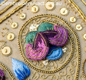 Detail 3 of Siennese Illuminated Treasure stitched by Fran Novitski
