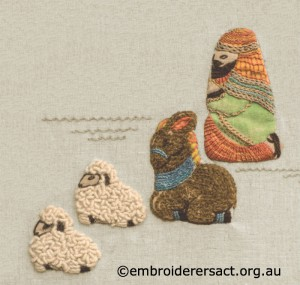 Detail 4 of Retro Nativity Scene stitched by Jillian Bath