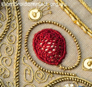 Detail 4 of Siennese Illuminated Treasure stitched by Fran Novitski