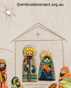 Detail 5 of Retro Nativity Scene stitched by Jillian Bath