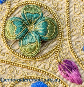 Detail 7 of Siennese Illuminated Treasure stitched by Fran Novitski