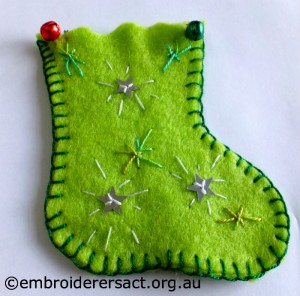 Green Xmas Stocking Ornament by Freia H