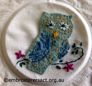 Owl Applique stitched by Maggie M