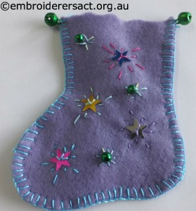 Purple Xmas Stocking Ornament by Zara H