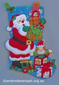 Santa Stocking stitched by Jillian Bath