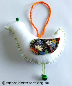 White Xmas Bird Ornament by Adele H