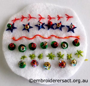 Xmas Ball Ornament in progress by Christine H