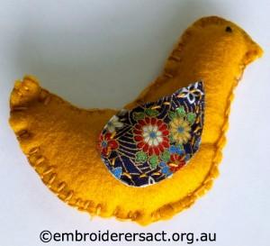 Yellow Xmas Bird Ornament by Anna M