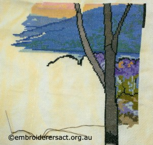 Blue Cross Stitch Wallhanging in Progress stitched by Kathy Pascoe