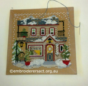 Canvaswork Xmas House in Progress stitched by Lesley Fusinato