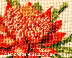 Close up of Waratah stitched by Kay Reid