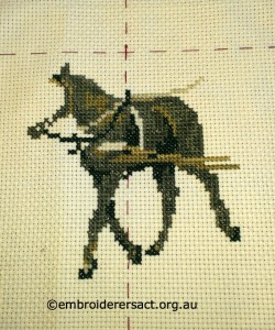 Cross Stitch Horse in Progress stitched by Margaret Cooper
