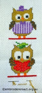 Cross Stitch Owls in Progress by Gail Haidon