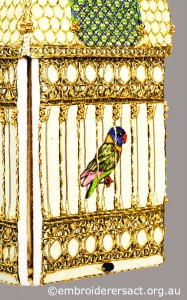 Detail 1 of Bird Cage stitched by Jillian Bath