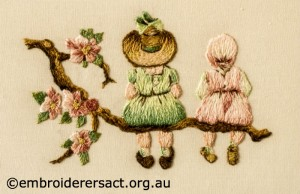 Detail 1 of Miniature Victorian Children on a Branch stitched by Evelyn Foster