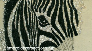 Detail 1 of Or Nue Zebra in Progress by Lorna Loveland