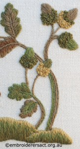 Detail 2 of Squirrel with Acorns stitched by Jillian Bath
