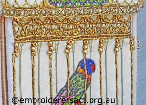 Detail 3 of Bird cage stitched by Jillian Bath