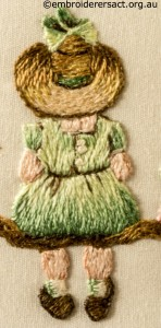 Detail 3 of Miniature Victorian Children on a Branch stitched by Evelyn Foster
