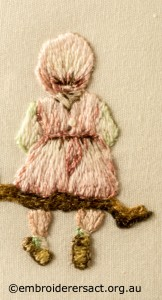 Detail 4 of Miniature Victorian Children on a Branch stitched by Evelyn Foster