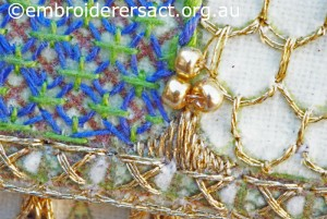 Detail 7 of bird Cage stitched by Jillian Bath