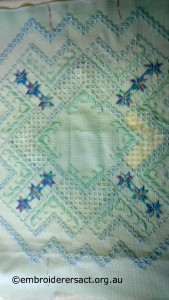 Hardanger Acqua and Mauve Piece in progress stitched by Avis Gesling