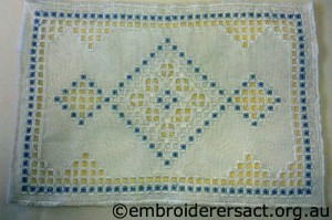 Hardanger Blue and White Runner stitched by Bonnie Crawford