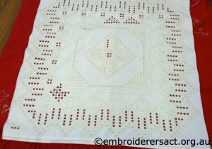 Hardanger Cream Square in progress stitched by Anne Lond