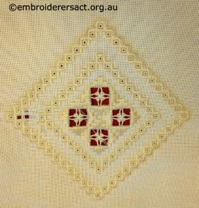 Hardanger Diamond in Progress stitched by Trish Hyland