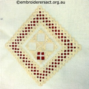 Hardanger Diamond in progress stitched by Magda Gustin